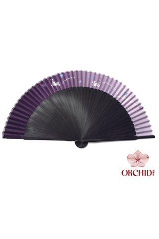 purple rabbit | Rabbit Design Hand Fan Made of Tortoise-shell Bamboo And Silk