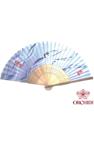 red blue fish   Bamboo And Silk Chinese Style Fan