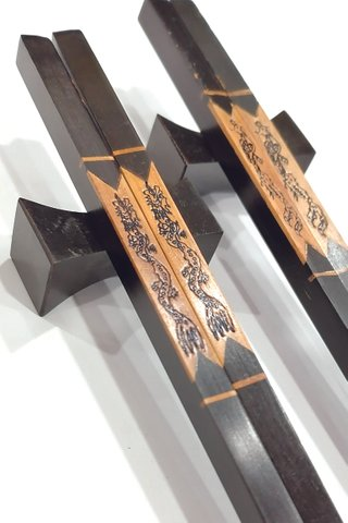 Carved Dragon and Phoenix Design | Young Ebony Wood Chopsticks and Holders Dining Set