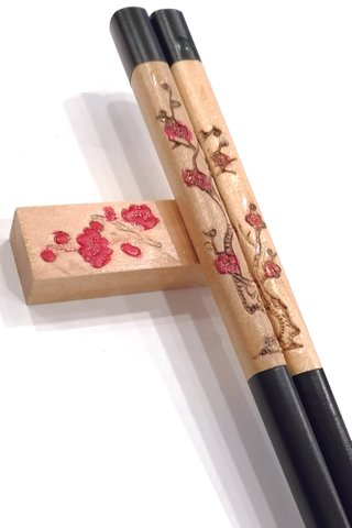 Red Plum Design Stamped Wood Chopsticks and Holders Dining Set