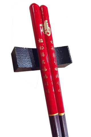 Lacquer Art Good Luck Design | Natural Wooden Chopsticks and Holders Dining Set