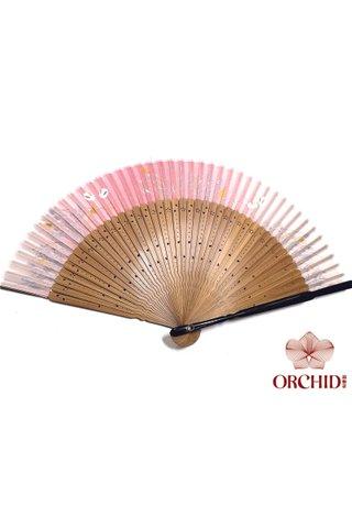pink rabbit | Rabbit Design Hand Fan Made of Tortoise-shell Bamboo And Silk