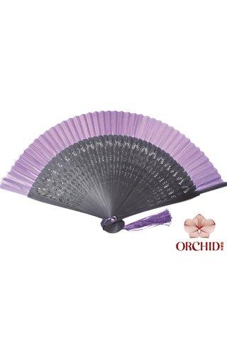 plain purple | Chinese Handmade Tortoise-shell Bamboo And Silk Fan