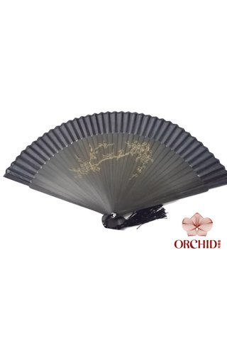 plum | Handpainted Design Tortoise-shell Bamboo And Silk Folding Hand Fan