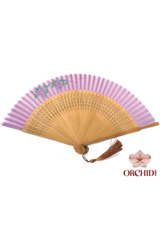 purple-grape | Handpainted Design Tortoise-shell Bamboo And Silk Folding Hand Fan