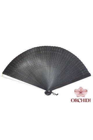 silver line | Plain Design | Handmade Tortoise-Shell Bamboo Chinese Style Hand Fan