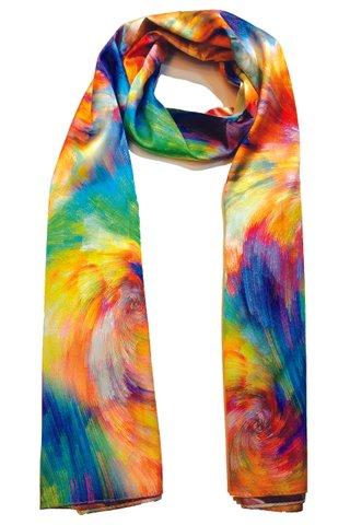 Silk Scarf Pattern Long Wrap Scarf Shawl Silk Imitation Beach Towel 31