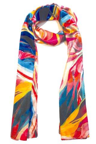 Silk Scarf Pattern Long Wrap Scarf Shawl Silk Imitation Beach Towel 33