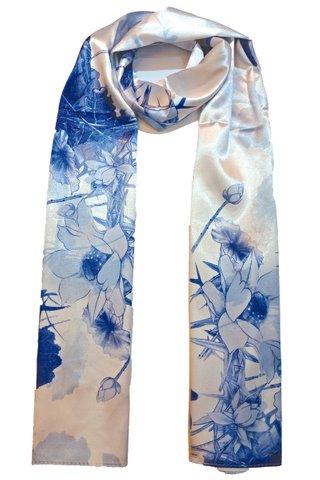 Silk Scarf Pattern Long Wrap Scarf Shawl Silk Imitation Beach Towel 35