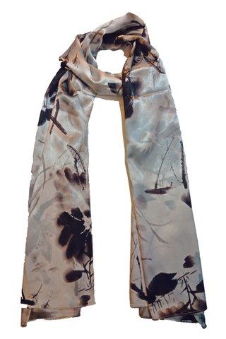 Silk Scarf Pattern Long Wrap Scarf Shawl Silk Imitation Beach Towel 41