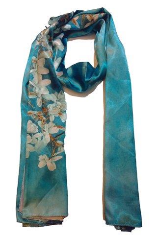 Silk Scarf Pattern Long Wrap Scarf Shawl Silk Imitation Beach Towel 21