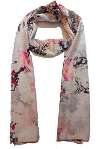 Silk Scarf Pattern Long Wrap Scarf Shawl Silk Imitation Beach Towel 22