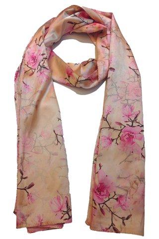 Silk Scarf Pattern Long Wrap Scarf Shawl Silk Imitation Beach Towel 23
