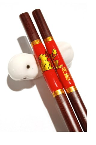 Chinese 12 Zodiac Monkey Design Wooden Chopsticks With Porcelain Holder Customized Personal Chopsticks Gift Set