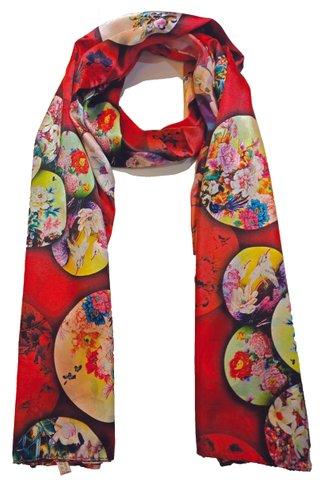 Silk Scarf Pattern Long Wrap Scarf Shawl Silk Imitation Beach Towel 27