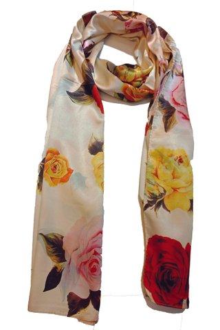 Silk Scarf Pattern Long Wrap Scarf Shawl Silk Imitation Beach Towel 13
