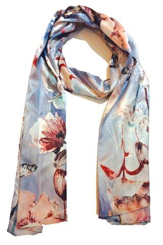 Silk Scarf Pattern Long Wrap Scarf Shawl Silk Imitation Beach Towel 15