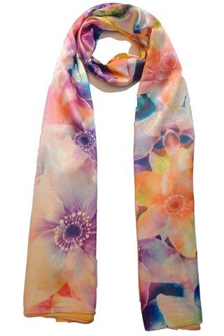 Silk Scarf Pattern Long Wrap Scarf Shawl Silk Imitation Beach Towel 18