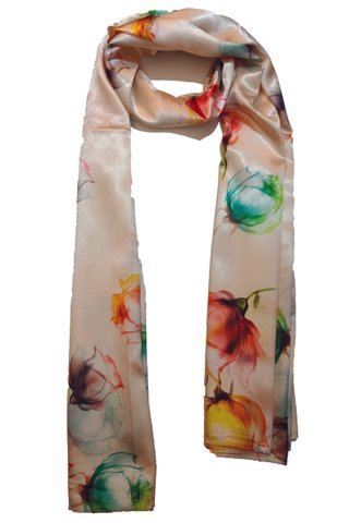 Silk Scarf Pattern Long Wrap Scarf Shawl Silk Imitation Beach Towel 19