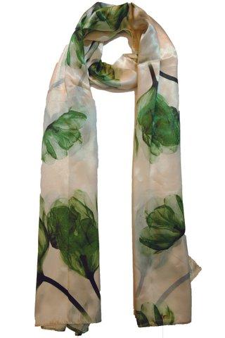 Silk Scarf Pattern Long Wrap Scarf Shawl Silk Imitation Beach Towel 4