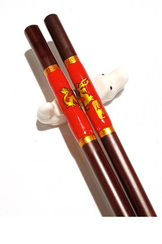 Chinese 12 Zodiac Dragon Design Wooden Chopsticks With Porcelain Holder Customized Personal Chopsticks Gift Set