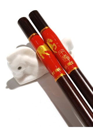 Chinese 12 Zodiac Horse Design Wooden Chopsticks With Porcelain Holder Customized Personal Chopsticks Gift Set