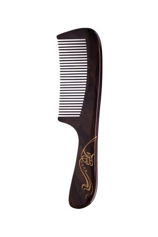 8100102 | Tan's Chacate Preto Wooden Comb with handpainted love start from hair design gift set