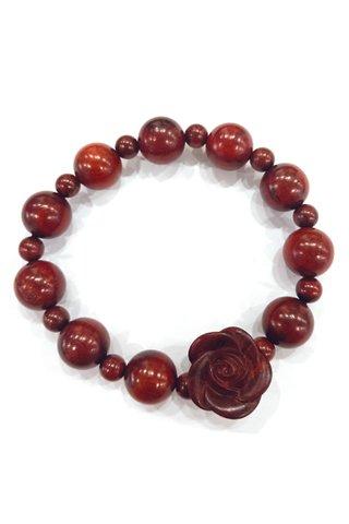 412 | Red Sandal Wood Carved Rose Design