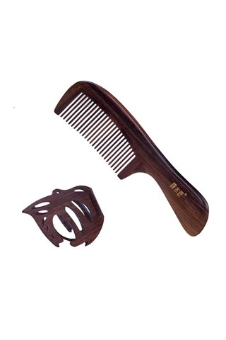 8100492 | Tan's Iron Wood Handmade Comb And Mirror 2 in 1 Gift Set