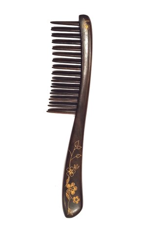 8100125 | Tan's Chacate Preto Wooden Massage COmb With Handpainted Flower Design