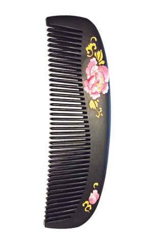 8100377 | Tan's Natural Box Wood Raw Lacquer Handpainted Rose Design Comb Gift Set