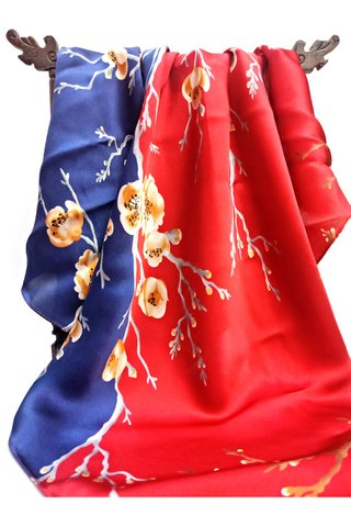 100% Silk Scarf Smooth and Soft Big Square Scarf For Female 8