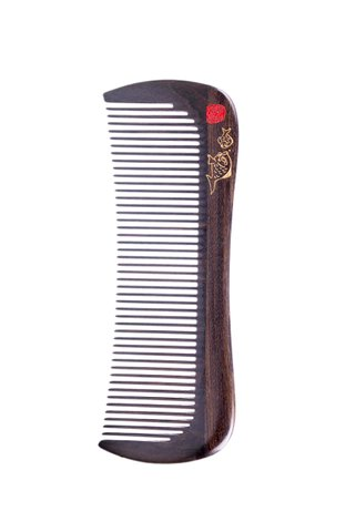 8100104 | Tan's Natural Chacate Preto Wooden Comb With Handpainted Fish Design Gift Set