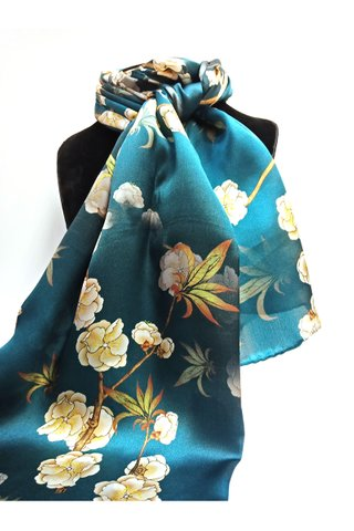 100% Silk Scarf Smooth and Soft Long Scarf For Female 17