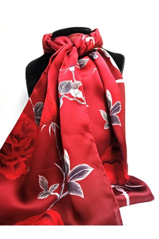 100% Silk Scarf Smooth and Soft Long Scarf For Female 19